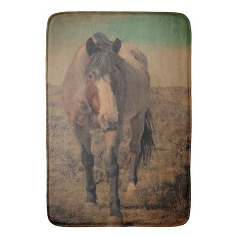 Red Roan and Sage Brush Bath Mat