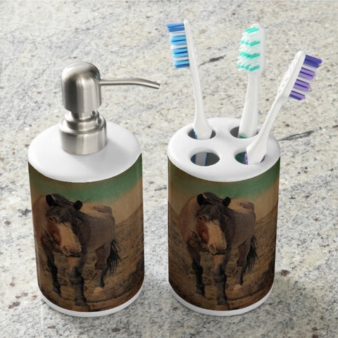 Red Roan and Sage Brush Bathroom Set