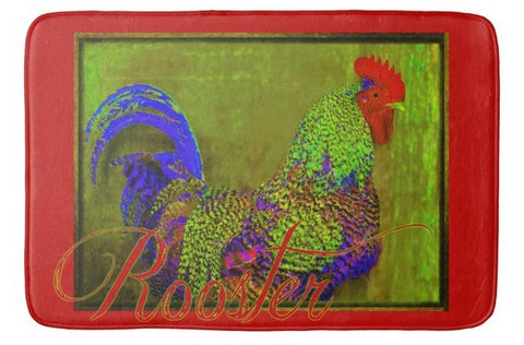Bert the Rooster Red Bath Mat