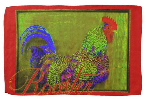Bert The Rooster Red Kitchen Towel