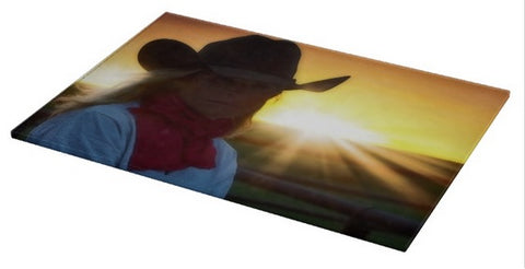 Red Scarves and Sunsets Cutting Board