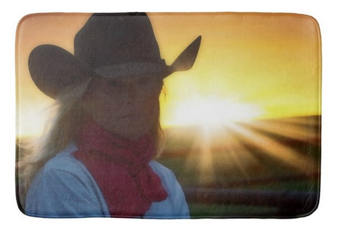 Red Scarves and Sunsets Bath Mat