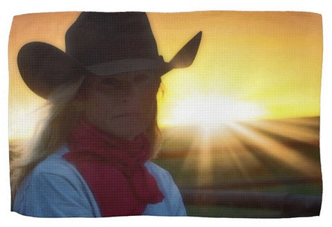 Red Scarves and Sunsets Kitchen Towel