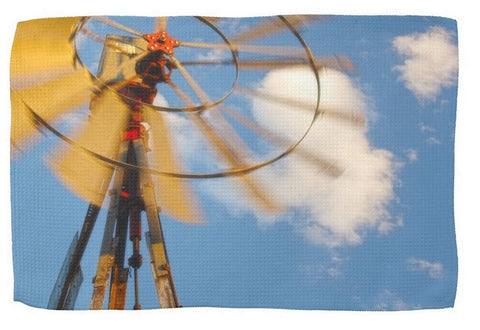 Red Wind Windmill Kitchen Towel