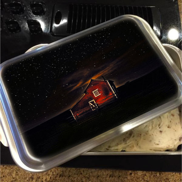 Red Barn at Midnight Cake Pan with Lid
