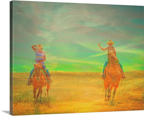Ropin' Two Canvas Print