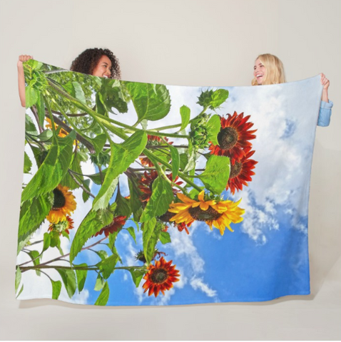 Rustic Sunflowers Fleece Blanket