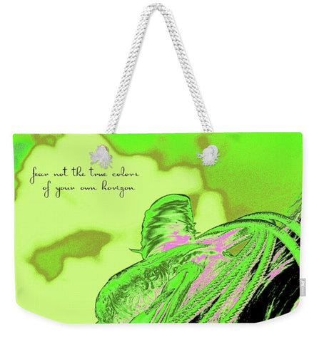 Saddle Electric Pink Quote Weekender Tote bag