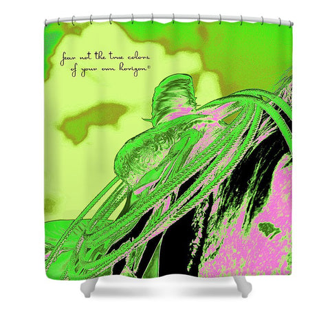 Saddle Electric Pink Quote Shower Curtain