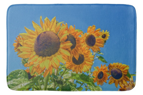 Sun and Flower Conversation Bath Mat