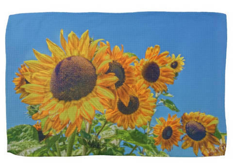 Sun and Flower Conversation Kitchen Towel