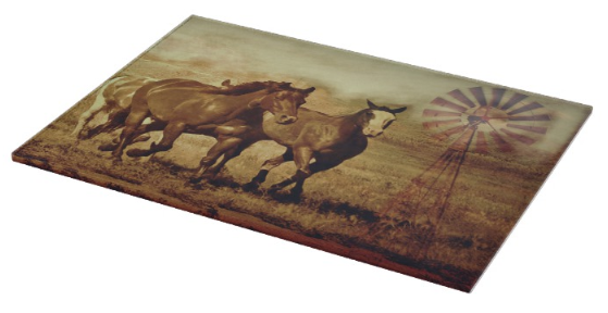 Wild Horses and Windmills Cutting Board
