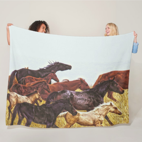 Spirit Races on the Prairie Fleece Blanket