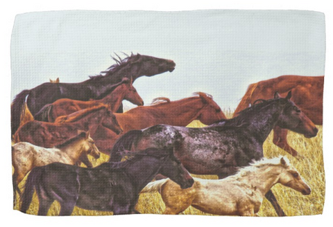 Spirit Races on the Prairie Kitchen Towel
