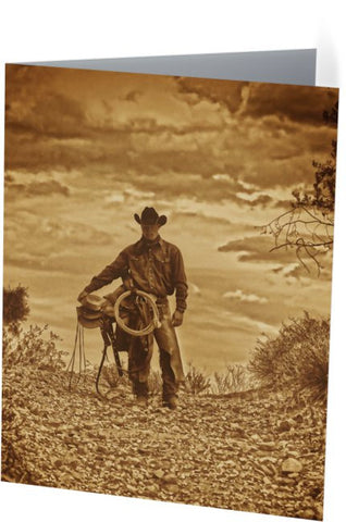 Sepia Cowboy Note Cards and Greeting Cards (25 Pack)