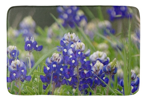Springtime in Blue Bath Mat