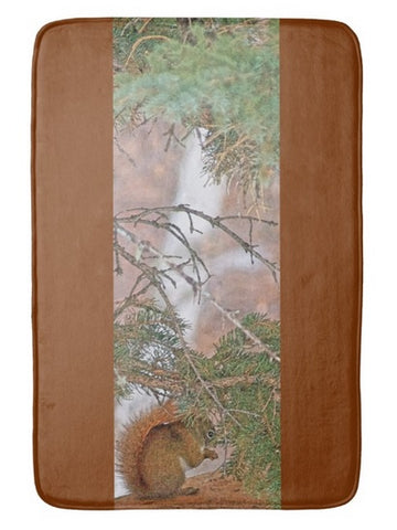 Squirrel, Pine Tree and a Nut Bath Mat