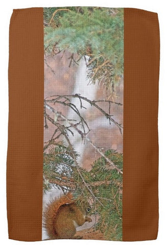 Squirrel, Pine Tree and a Nut Kitchen Towel