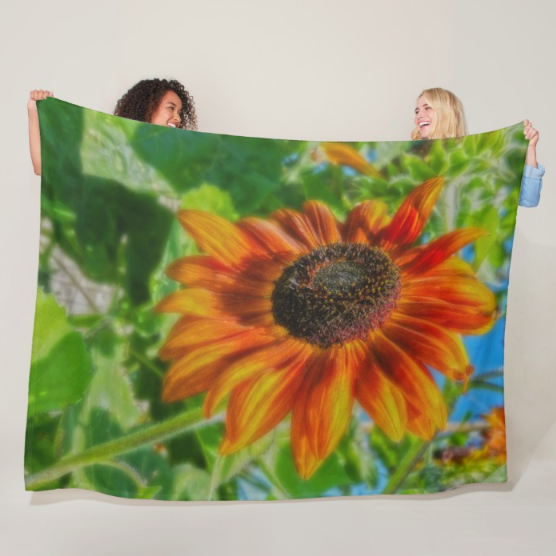 Sun Shower Sunflower Fleece Blanket