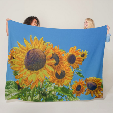 Sun and Flower Conversation Fleece Blanket