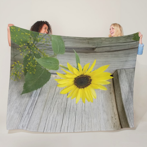 Sunflower and Dill Fleece Blanket