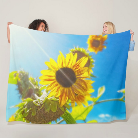 Sunflower and Sunlight Fleece Blanket