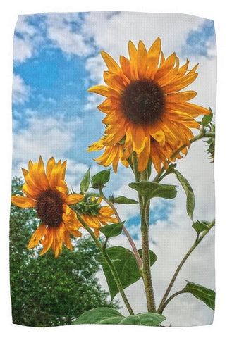 Sunflowers and Blue Kitchen Towel