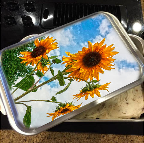 Sunflowers and Blue Cake Pan with Lid