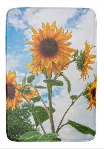 Sunflowers and Blue Bath Mat