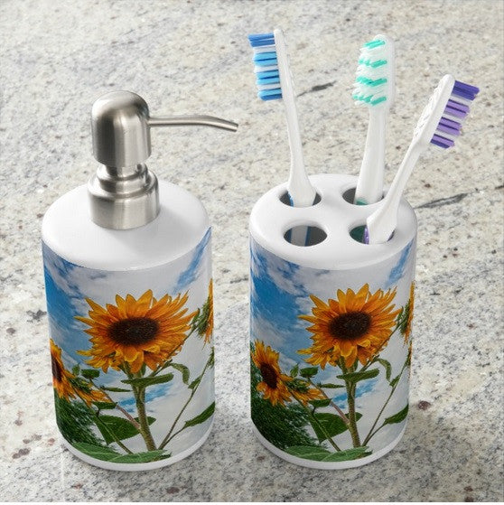 Sunflowers and Blue Bathroom Set