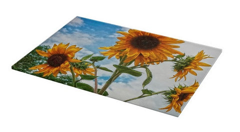 Sunflowers and Blue Cutting Board