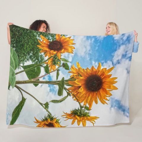 Sunflowers and Blue Fleece Blanket