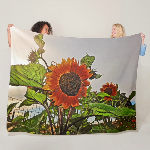 Sunflowers and Storm Fleece Blanket