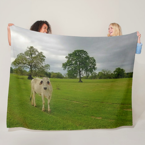 Texas Brahman Mama Fleece Blanket