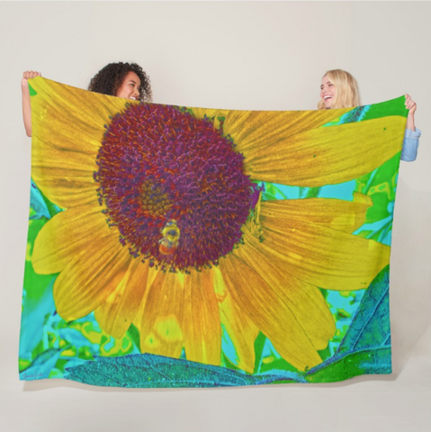 The Sunflower and The Bee Fleece Blanket