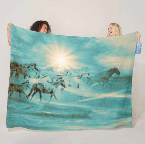Turquoise Run in Spirit Fleece Blanket