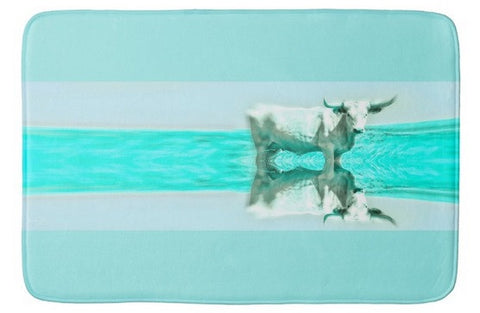Turquoise and Steer Bath Mat