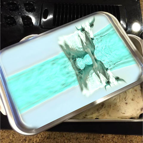 Turquoise and Steer Cake Pan with Lid