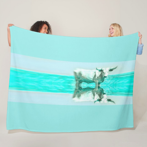 Turquoise and Steer Fleece Blanket