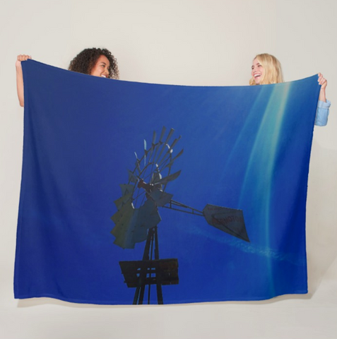 Underwater Windmill Fleece Blanket