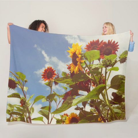 Vintage Sunflowers Fleece Blanket