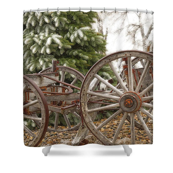 Wagon in Winter Shower Curtain