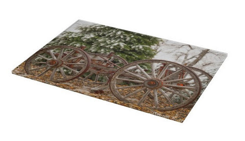 Wagon in Winter Cutting Board
