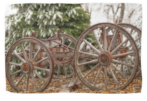 Wagon in Winter Kitchen Towel