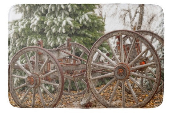 Wagon in Winter Bath Mat