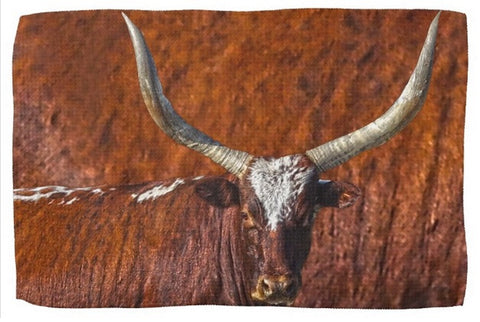 Watusi Blues in Rustic Red Kitchen Towel