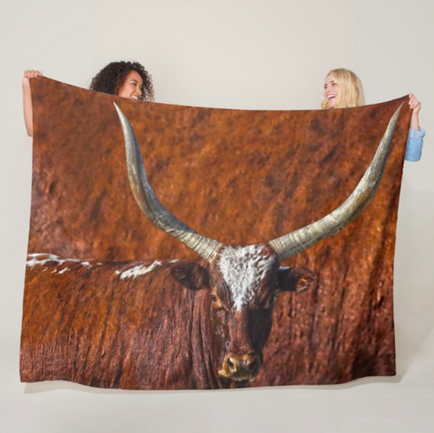 Watusi Blues in Rustic Red Fleece Blanket
