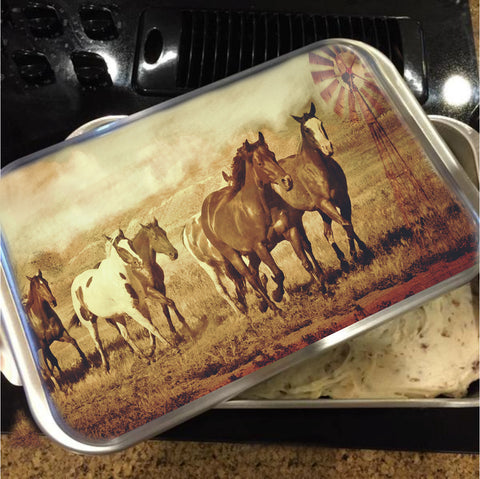 Wild Horses and Windmills Cake Pan with Lid