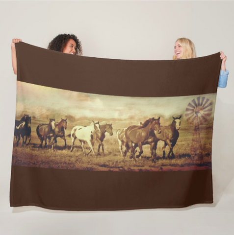 Wild Horses and Windmills Fleece Blanket