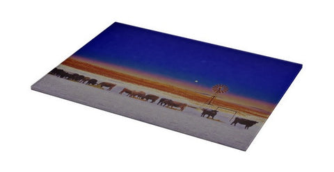 Windmill And Cows Night Feed Cutting Board